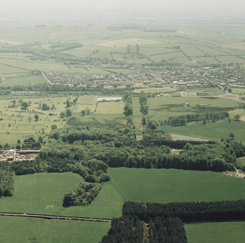 General aerial view of Loudoun Castle, including Galston, taken from the N.
