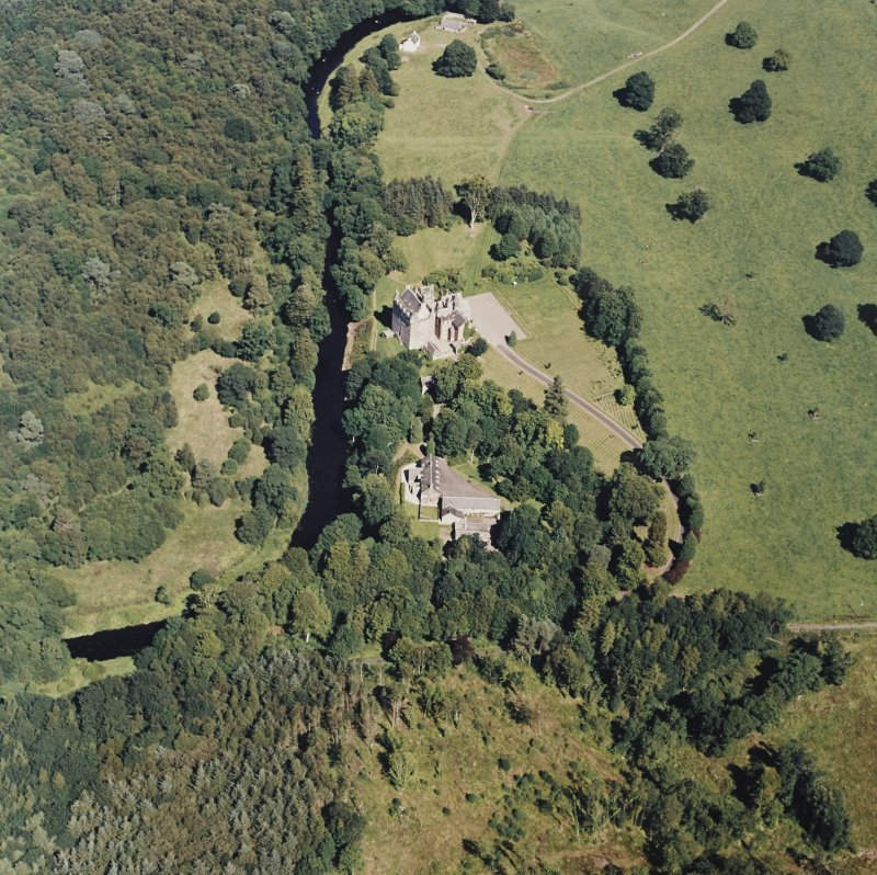 Oblique aerial view of Cassillis House centred on the tower-house, taken from the SW.