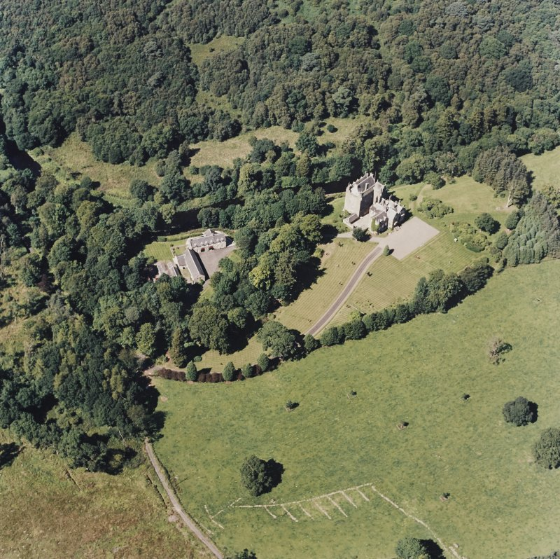 Oblique aerial view of Cassillis House centred on the tower-house, taken from the SSE.