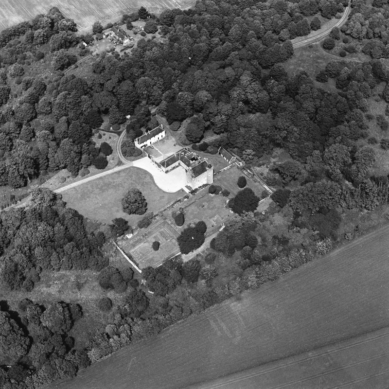 Oblique aerial photograph of Killochan Castle taken from the SSW.