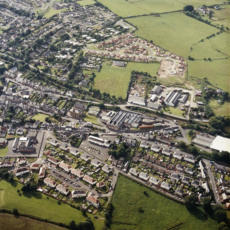 Oblique aerial view centred on the engineering works, taken from the SE.