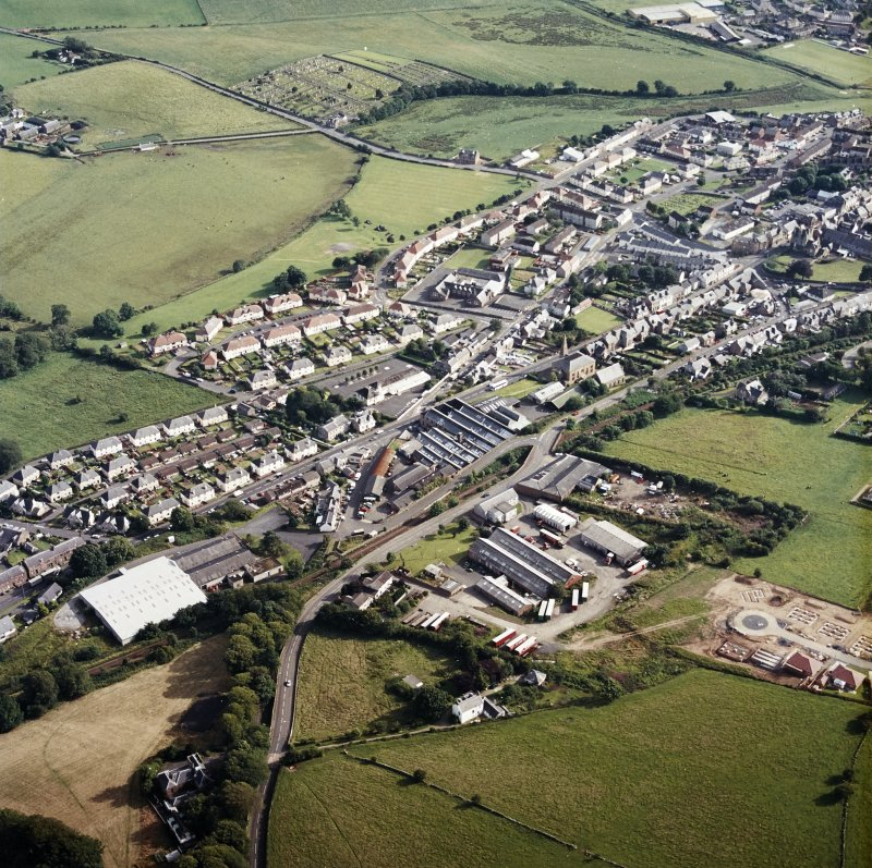 Oblique aerial view centred on the engineering works, taken from the N.