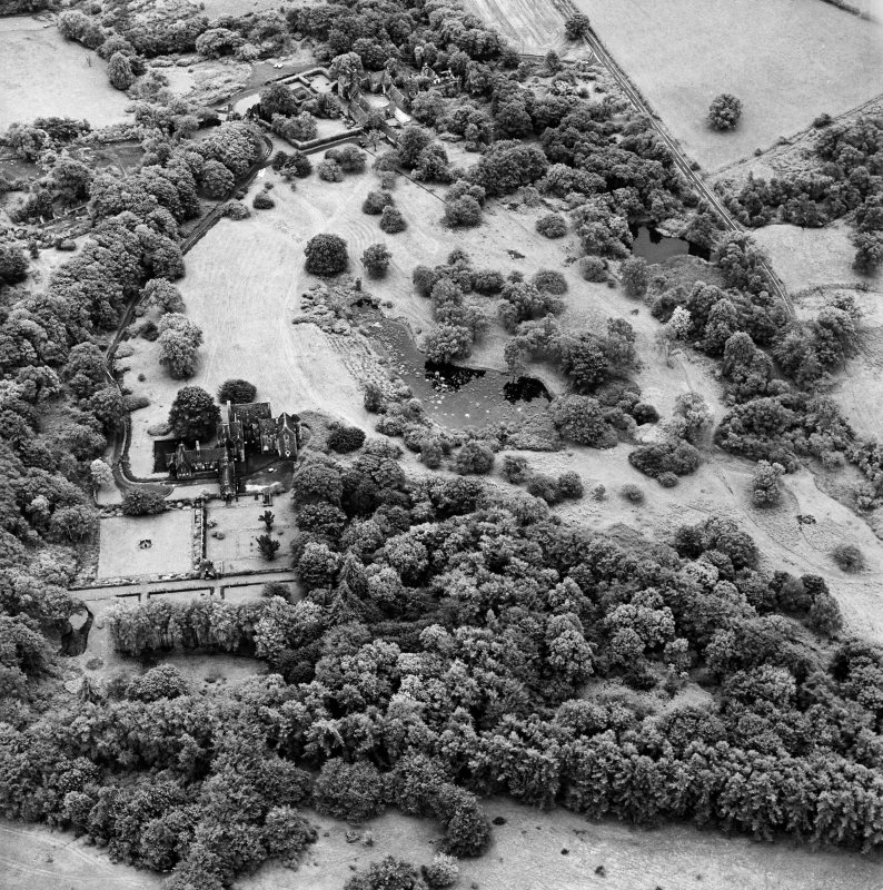 Formakin, oblique aerial view, taken from the N, showing Formakin House in the left centre of the photograph, and Formakin Mill in the top centre.