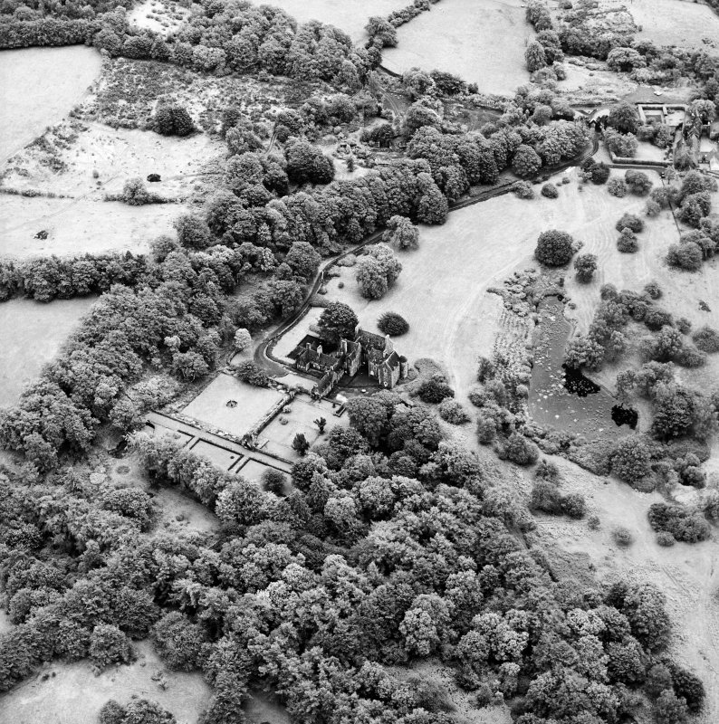 Formakin, oblique aerial view, taken from the NNW, showing Formakin House in the left centre of the photograph, and Formakin Mill in the top right-hand corner.