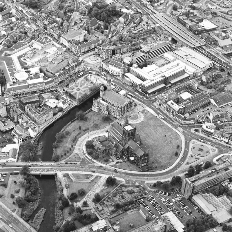 Oblique aerial view of Paisley centred on the abbey and town hall, taken from the ESE.