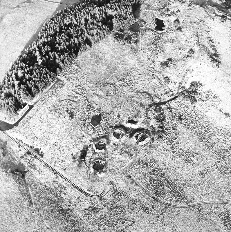 Oblique aerial view centred on the remains of the anti-aircraft battery with traces of the camp adjacent, taken from the S.