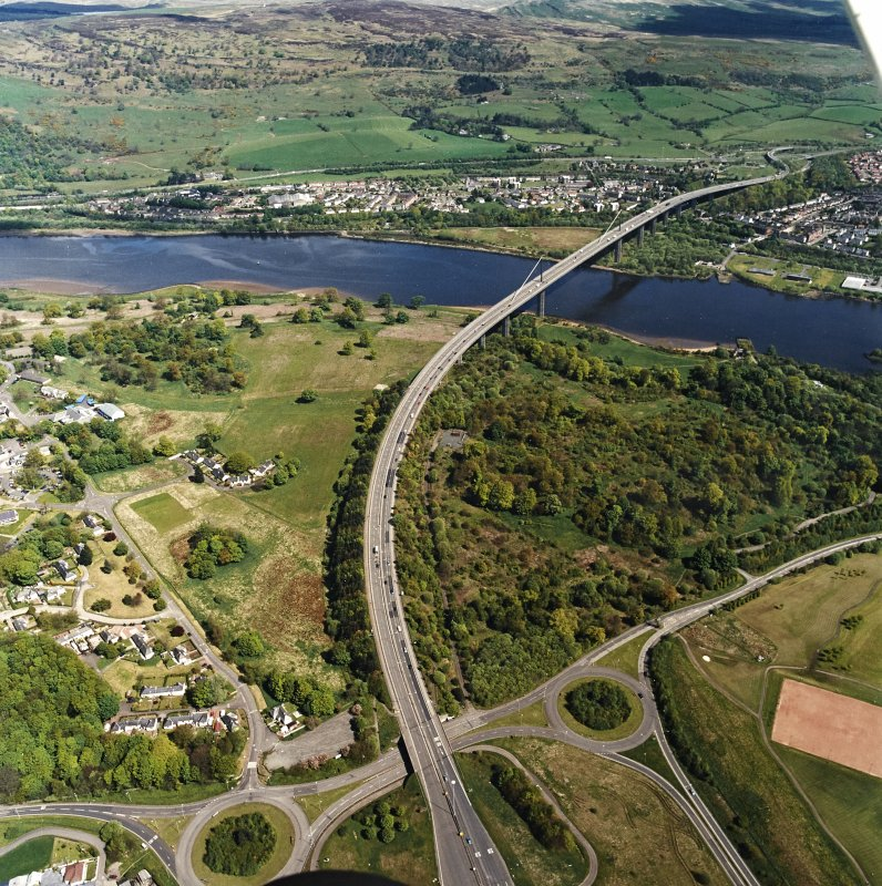 General oblique aerial view centred on the Erskine bridge, taken from the SW.