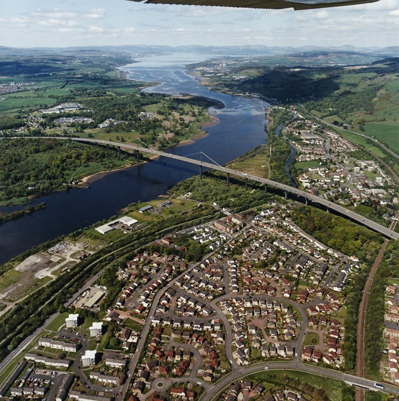 General oblique aerial view looking across the bridge and canal, Clydebank and Old Kilpatrick, along the River Clyde towards Dumbarton, Greenock and the Firth of Clyde, taken from the ESE.
