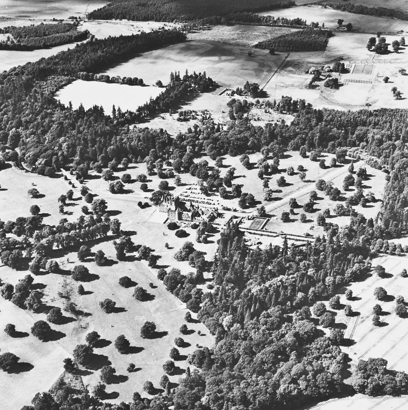 Glamis Castle, oblique aerial view, taken from the ESE, showing the castle in the centre of the photograph.
