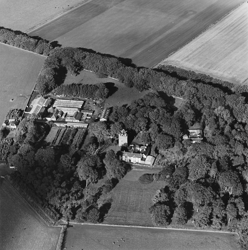 Oblique aerial view of the tower-house, country house, farmsteading and horsemill, taken from the SSE.