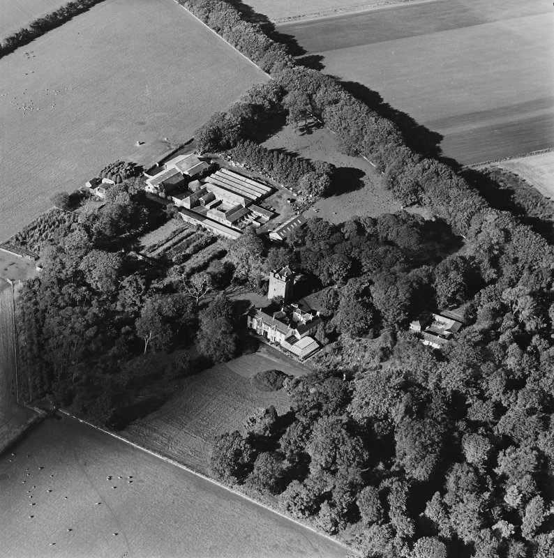 Oblique aerial view of the tower-house, country house, farmsteading and horsemill, taken from the SE.