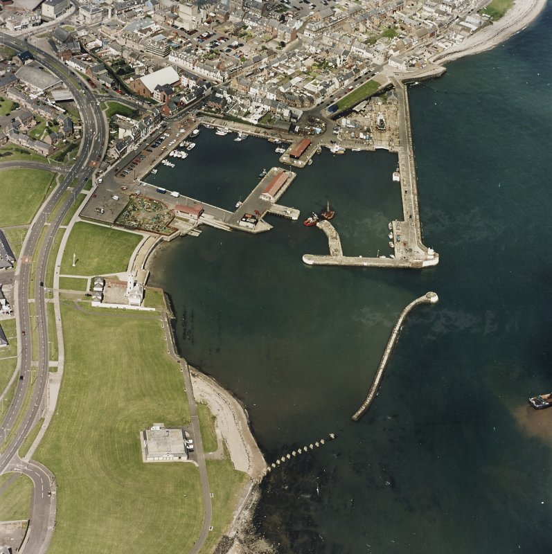 Oblique aerial view centred on the harbour and signal station, taken from the SW.