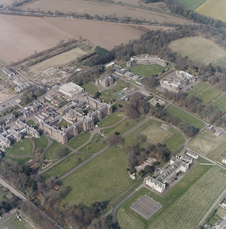 Oblique aerial view of the hospitals, taken from the SSW.