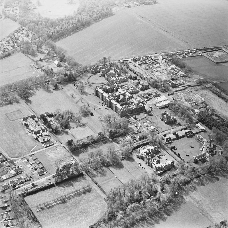 Oblique aerial view of the hospitals, taken from the E.