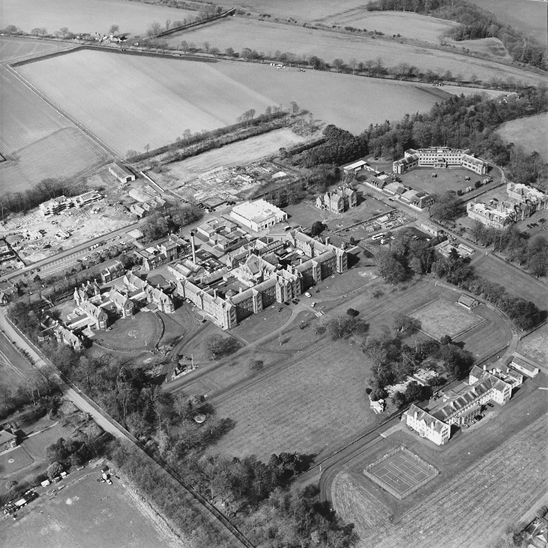 Oblique aerial view of the hospitals, taken from the S.