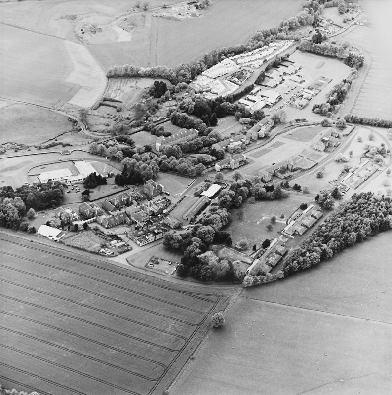 Oblique aerial view of the hospital, taken from the ENE.
