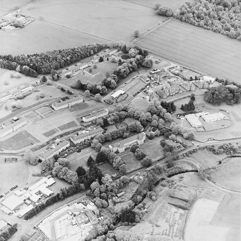Oblique aerial view of the hospital, taken from the WSW.