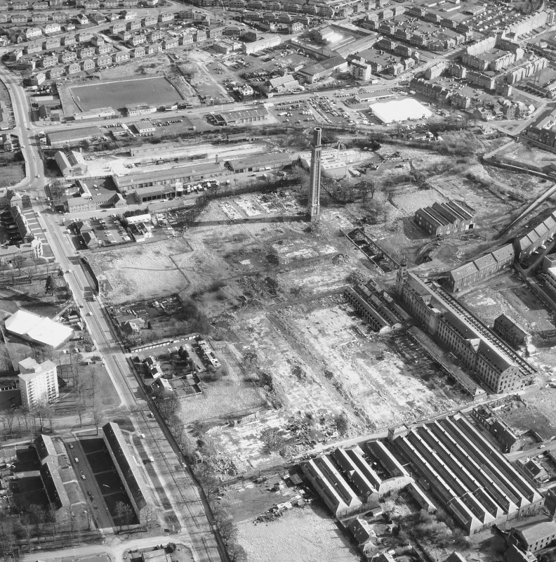 Oblique aerial view of Camperdown works and cox's Stack