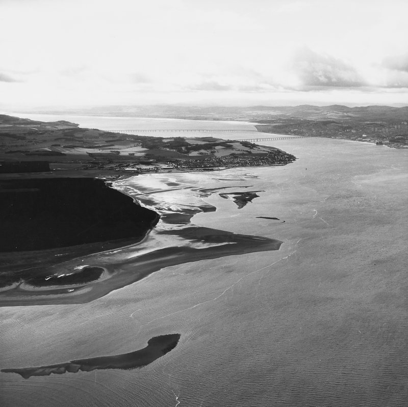 Aerial photograph showing the Tay Rail Bridge, Tay Road Bridge, Ferry Port on Craig and Dundee