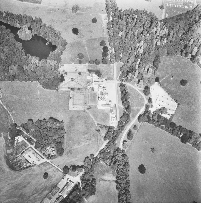General aerial view showing castle and grounds.