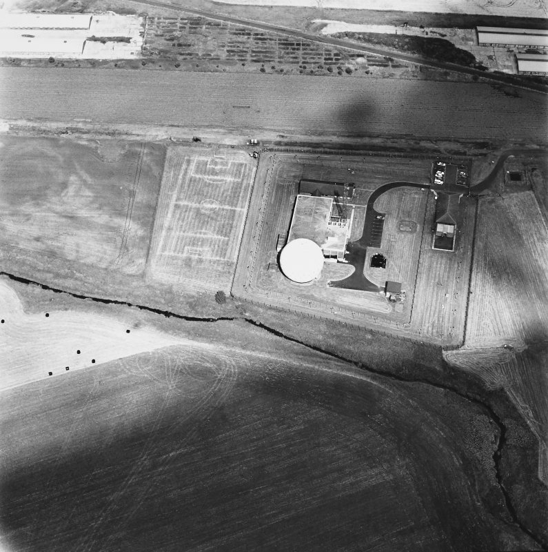Balado Bridge Radio Station and Airfield, oblique aerial view, taken from the SSE, centred on the radio station.