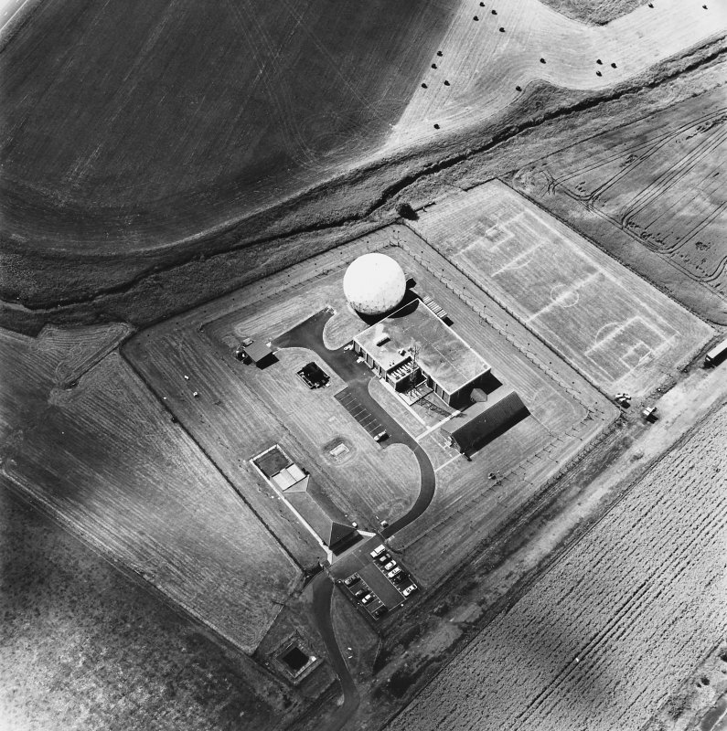 Balado Bridge Radio Station and Airfield, oblique aerial view, taken from the NE, centred on the radio station.