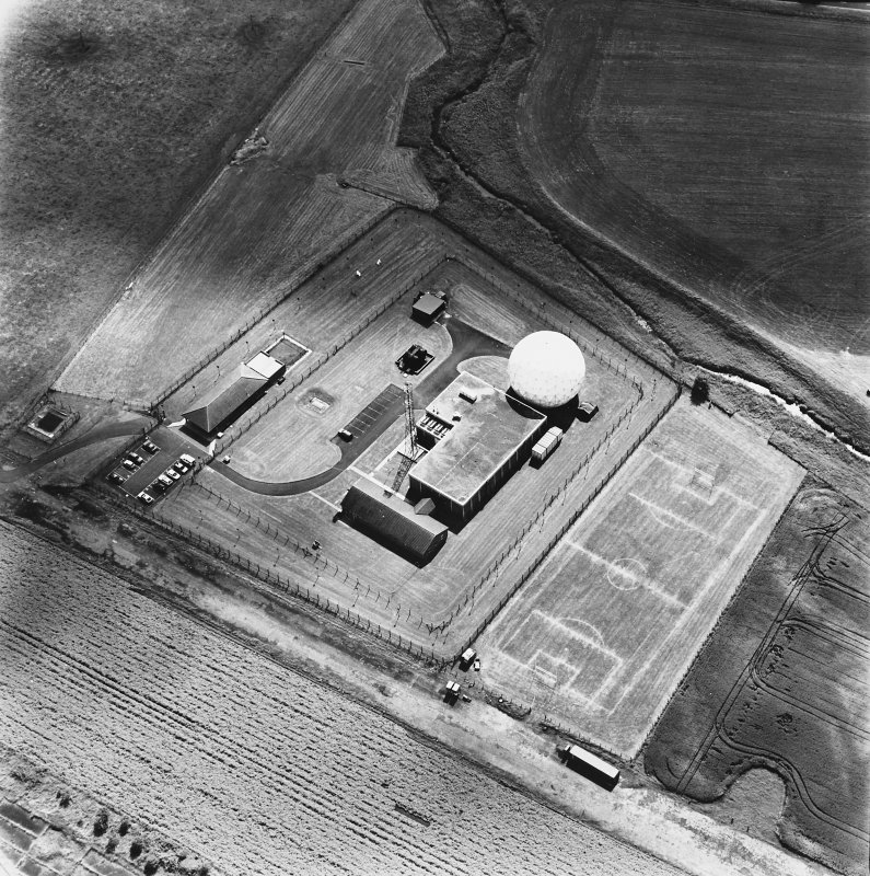 Balado Bridge Radio Station and Airfield, oblique aerial view, taken from the NNW, centred on the radio station.