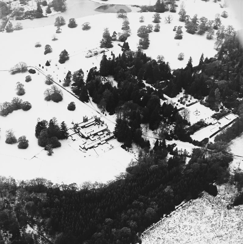 Abercairny House, oblique aerial view, taken from the ENE, centred on the stable block and East walled garden.