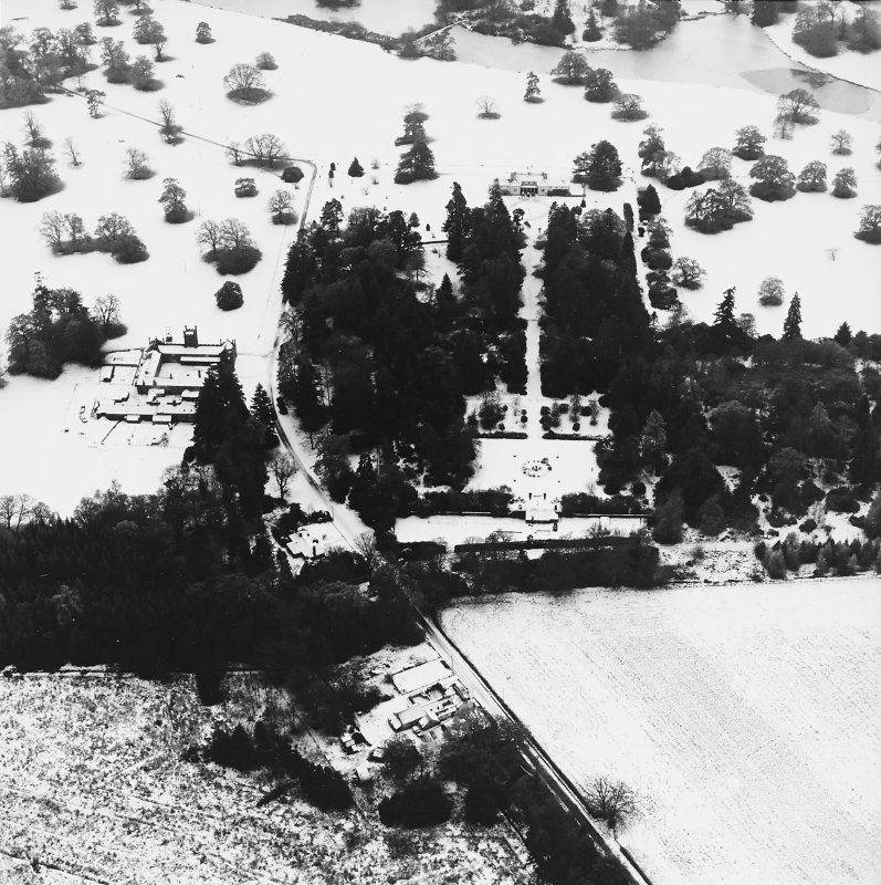 Abercairny House, oblique aerial view, taken from the NNE, centred on the East walled garden.