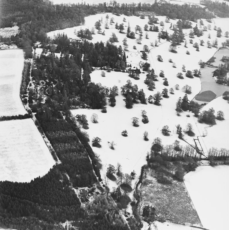 Abercairny House, oblique aerial view, taken from the WNW, centred on the country house and East walled garden.