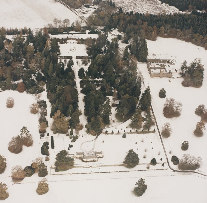 Abercairny House, oblique aerial view, taken from the SSW.