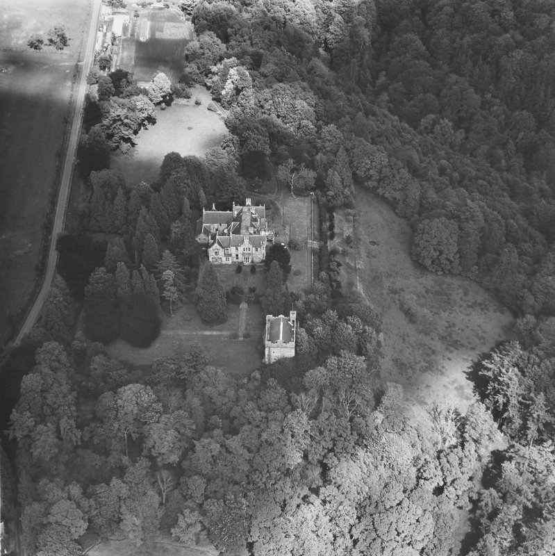 Balthayock Castle, Balthayock House. General aerial view.