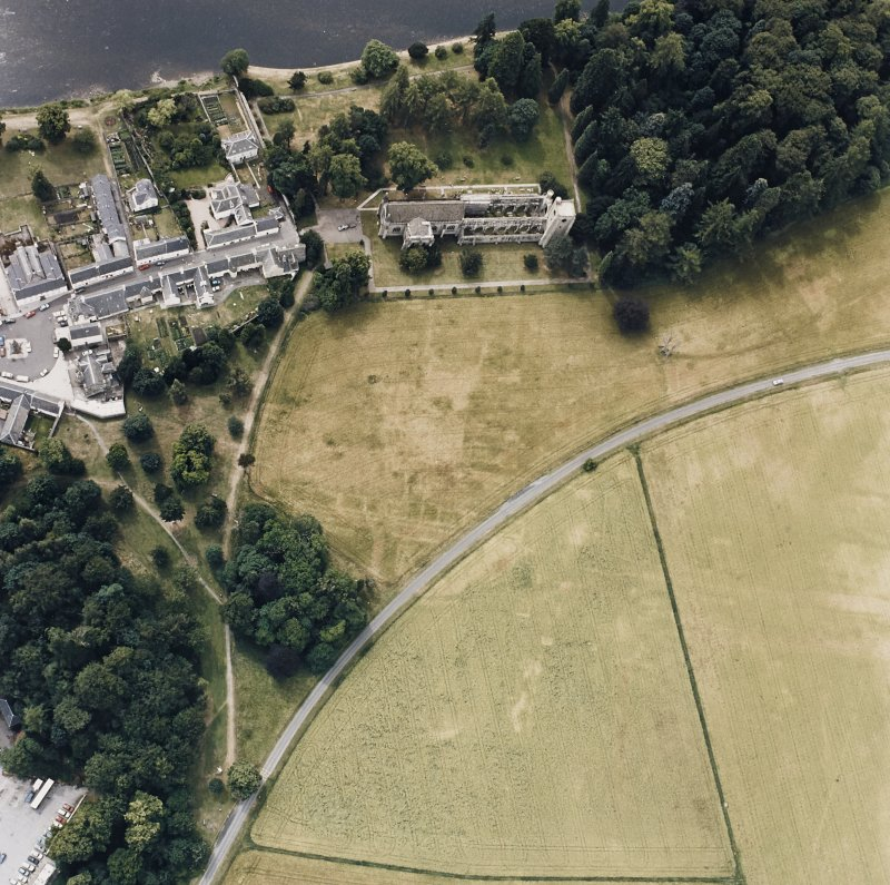 Dunkeld, Dunkeld Cathedral, Bishop's Palace, Dunkeld House. Aerial view.