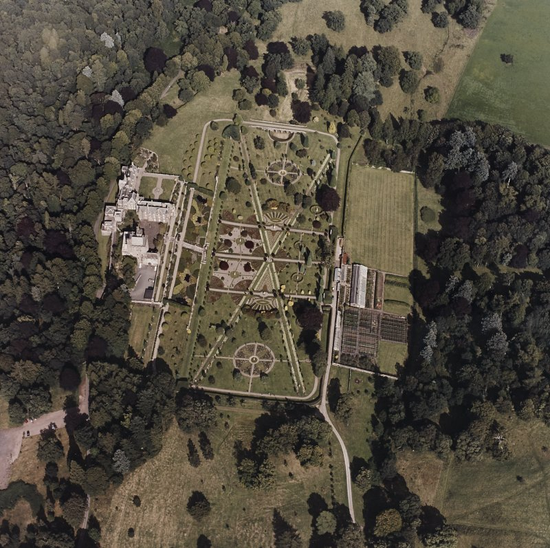 Drummond Castle. General aerial view of castle and garden.