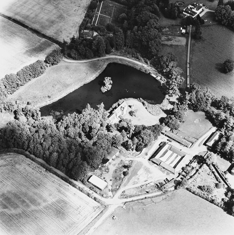 Ecclesiamagirdle, oblique aerial view, taken from the SW, centred on the remains of the chapel. Glenearn House is visible in the top right-hand corner of the photograph.