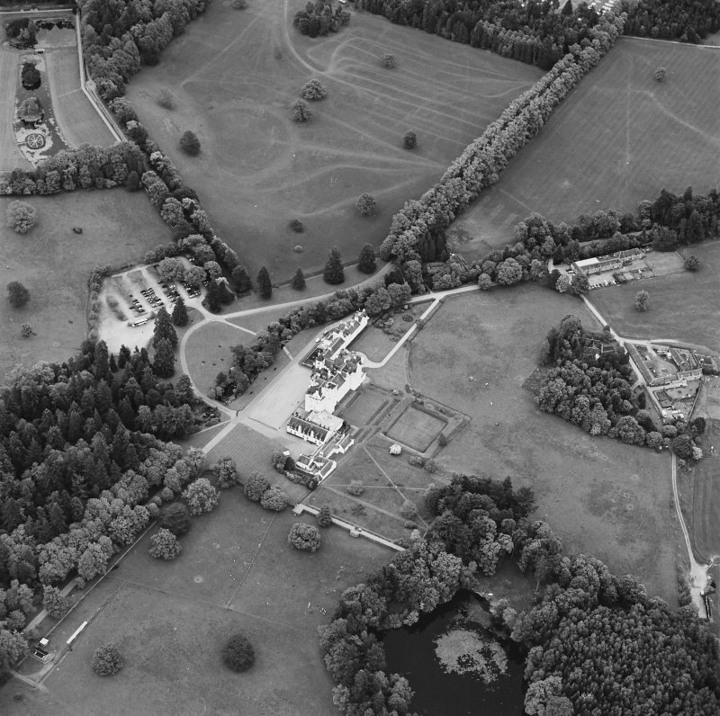 Oblique aerial view of Blair Castle centred on the country house and garden, taken from the WNW.