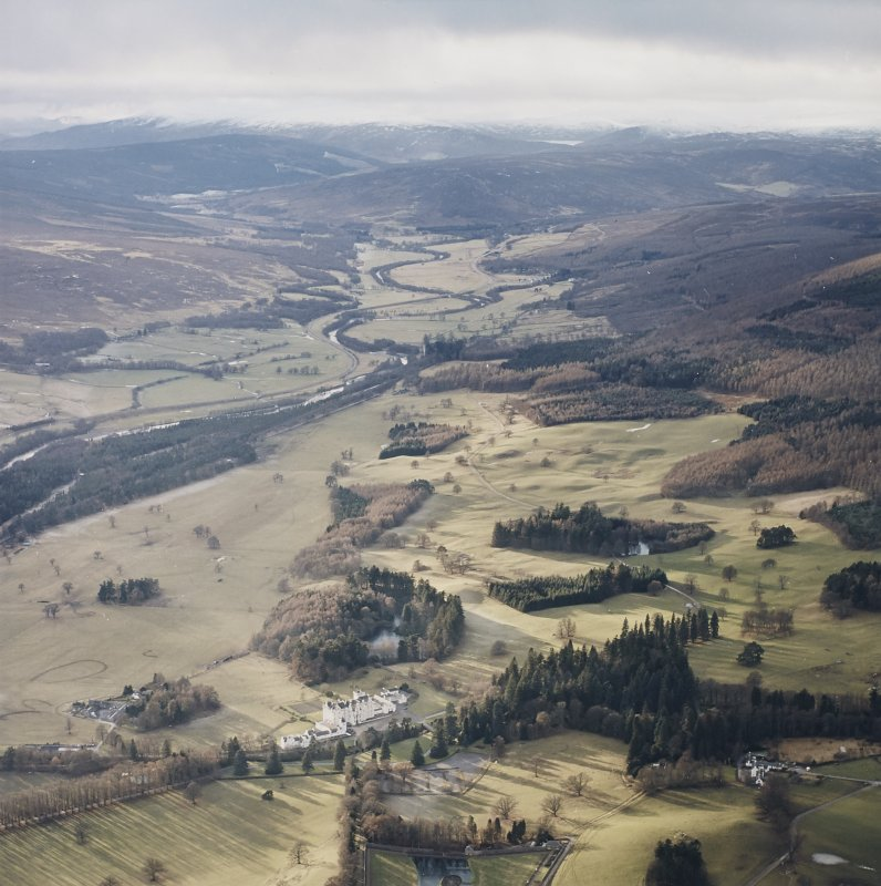 General oblique aerial view of the glen with the country house and dairy adjacent, taken from the E.