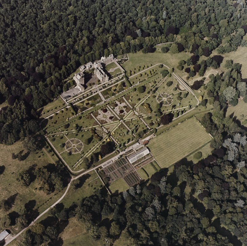 Drummond Castle. General aerial view.