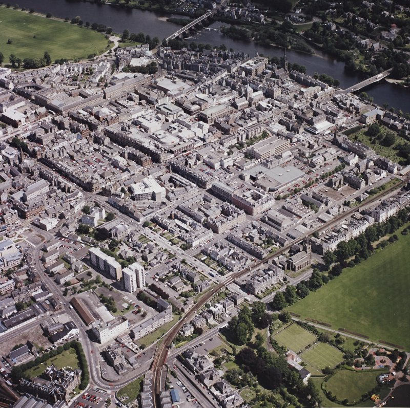Perth town centre, oblique aerial view, taken from the SSW.