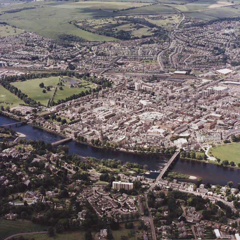 Perth town centre, oblique aerial view, taken from the NE, centred on the town centre.