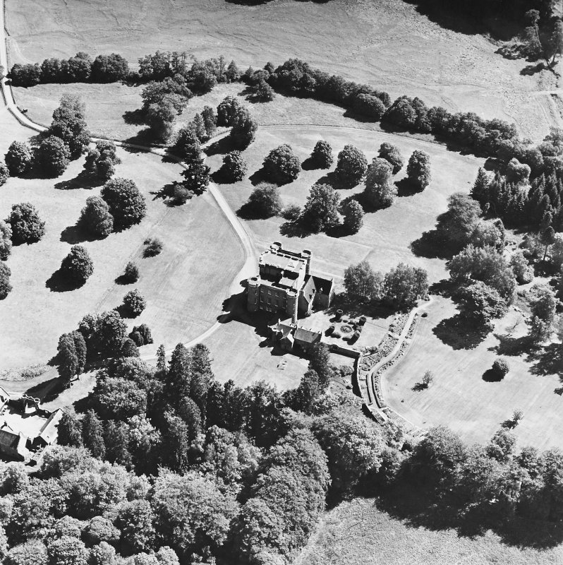 Monzie Castle, oblique aerial view, taken from the NW.