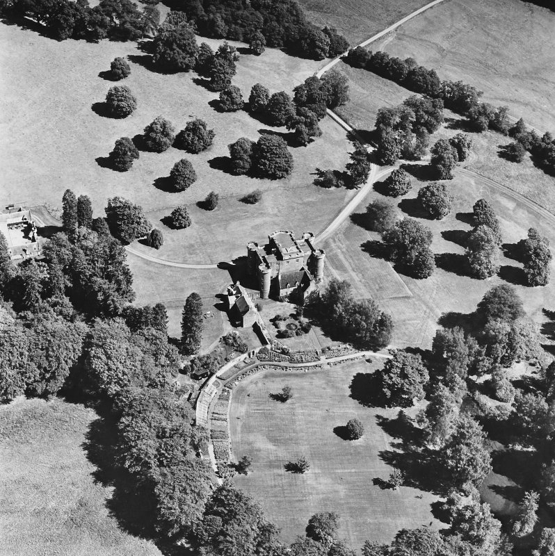 Monzie Castle, oblique aerial view, taken from the WSW.