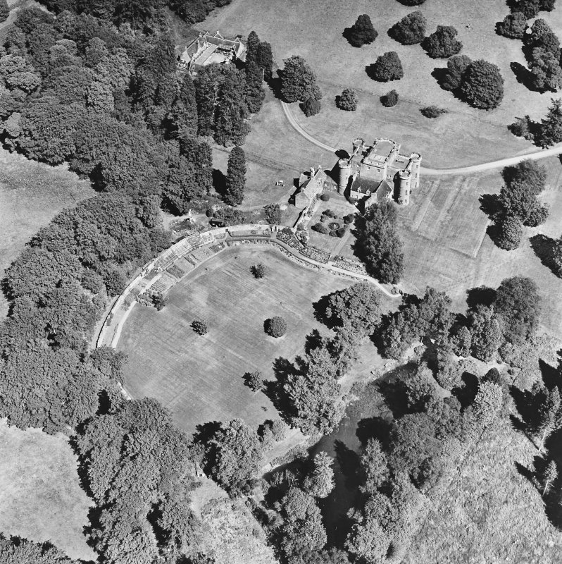 Monzie Castle, oblique aerial view, taken from the SW.