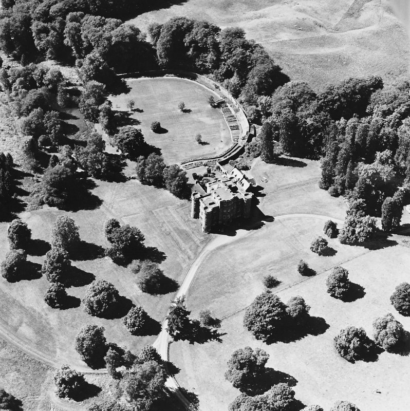 Monzie Castle, oblique aerial view, taken from the E.