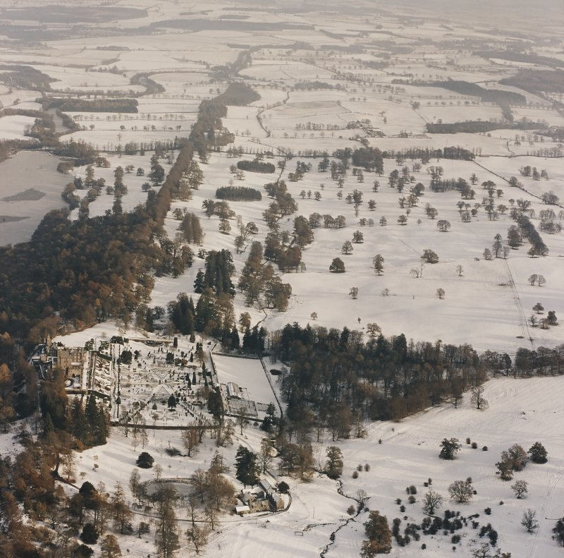 Drummond Castle, Formal Gardens and Policies, oblique aerial view, taken from the WSW.