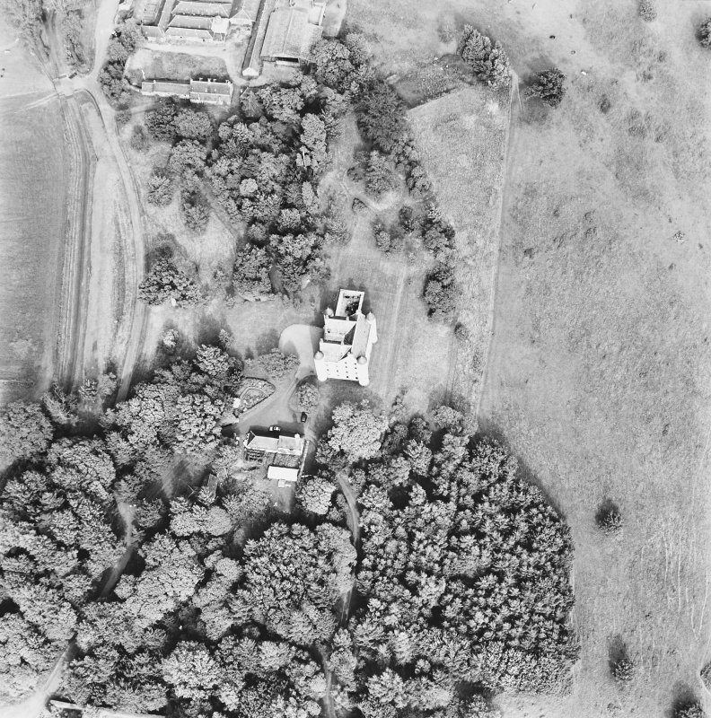 Methven Castle, oblique aerial view, taken from the WSW.