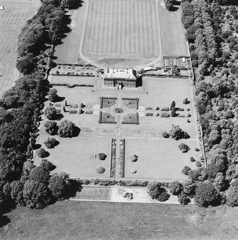 Oblique aerial view of Kinross House country house with garden and gate, taken from the ESE.