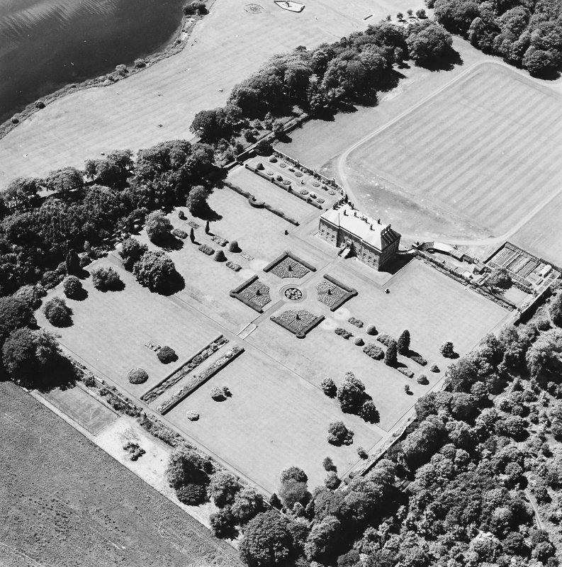Oblique aerial view of Kinross House country house with garden and gate, taken from the ENE.