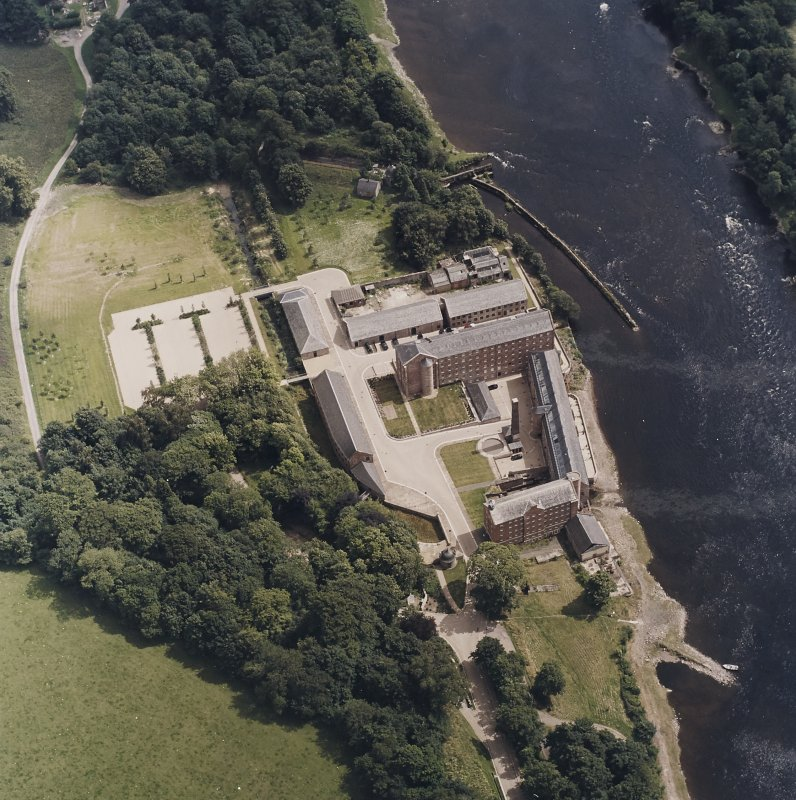 Oblique aerial view centred on the mill, taken from the WNW.