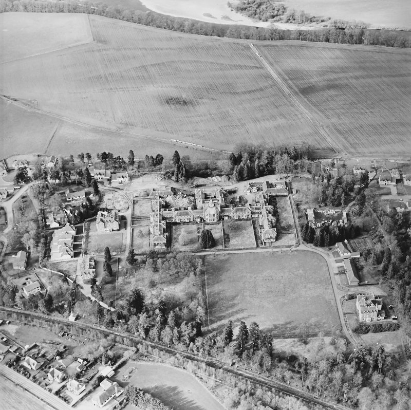 Oblique aerial view of the hospital, taken from the SSW.